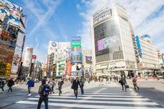 横穿shibuya东京 免版税库存图片