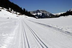 横越全国的滑雪在Glieres落后,开胃菜,法国 图库摄影