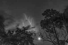 横跨天空的闪电浪花 免版税库存图片