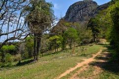 横跨天际的山在一个小镇附近在巴西叫Ipoema 库存图片