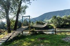 横跨山河的一座小桥梁 免版税库存照片