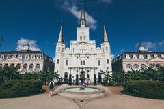 横跨杰克逊广场的圣路易斯大教堂 免版税图库摄影