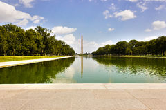 横跨林肯纪念堂反射水池往华盛顿纪念碑,全国购物中心,华盛顿特区的看法 免版税库存照片