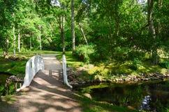 横跨池塘的桥梁在植物的公园,帕兰加,立陶宛 免版税库存图片