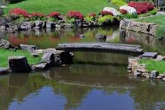 横跨池塘的老人行桥 免版税库存照片
