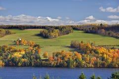 横跨河在秋天 库存图片
