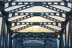 横跨河泰国的铁桥梁 免版税库存照片