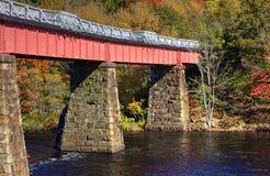 横跨河的桥梁在秋天 库存图片