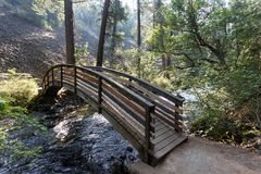 横跨流动入McArthur-Burney的水的桥梁在拉森火山国家公园` s高山森林里落 免版税库存图片