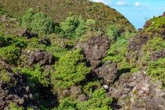 横跨火山岩区域的轨道有标志的 库存图片