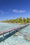 横跨盐水湖, Tetamanu,法卡拉瓦环礁,土阿莫土群岛,法属玻里尼西亚的人行桥 免版税库存照片