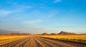 横跨纳米比亚沙漠的空的土路 库存照片