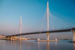 横跨船的航路的缆绳被停留的桥梁,圣彼德堡,俄罗斯 免版税库存图片