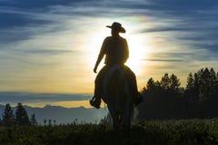 横跨草原的牛仔骑马 免版税库存图片