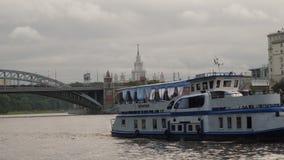 横跨莫斯科河的游船航行 影视素材