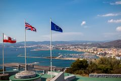 横跨边界的看法进入西班牙 免版税图库摄影