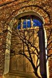 横跨门和窗口的树阴影 免版税库存图片