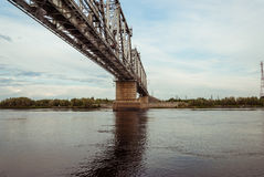 横跨Agan河的铁路桥 图库摄影