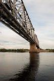 横跨Agan河的铁路桥 库存图片