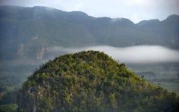 横跨Vinales谷的看法在古巴 早晨微明和雾 免版税库存照片