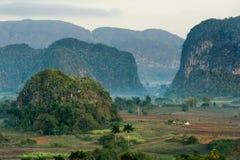 横跨Vinales谷的鸟瞰图在古巴 早晨微明和雾 使模糊在Vinales谷的黎明在Pinar del里约 库存照片