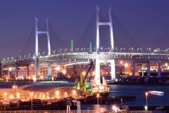 横滨海湾桥梁在晚上 免版税库存图片