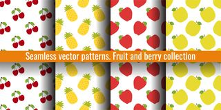 樱桃、菠萝和苹果 果子无缝的样式集合 衣裳或亚麻布的食物印刷品 时尚设计 秀丽传染媒介剪影 皇族释放例证