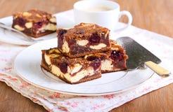 樱桃乳酪蛋糕使有大理石花纹的果仁巧克力 库存照片