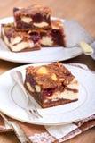 樱桃乳酪蛋糕使有大理石花纹的果仁巧克力 库存图片