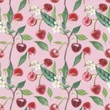 樱桃和叶子例证花手拉的水彩花圈  无缝水彩植物的例证 皇族释放例证