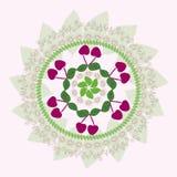 从樱桃和叶子的装饰品 免版税图库摄影