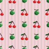 樱桃和苹果无缝的样式 皇族释放例证