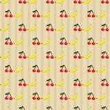 樱桃和香蕉无缝的样式 库存例证