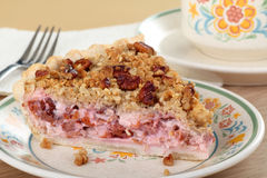 樱桃奶油馅饼片式 库存照片