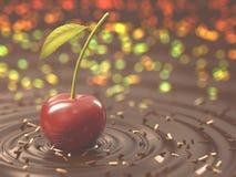 樱桃巧克力点心 免版税库存照片