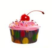 樱桃杯形蛋糕粉红色 免版税库存照片