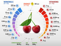 樱桃果子维生素和矿物  免版税库存图片