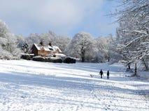 樱桃树Dell,Chorleywood共同性,在冬天雪的Chorleywood 图库摄影
