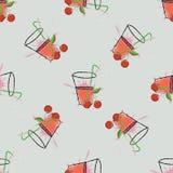 樱桃汁 一杯樱桃汁和樱桃 模式无缝的向量 皇族释放例证