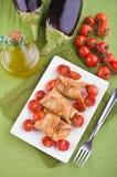樱桃茄子肉卷沙拉蕃茄 免版税库存照片