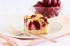 樱桃蛋糕自创用季节的新鲜的莓果 库存照片
