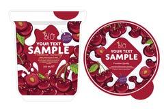 樱桃酸奶成套设计模板 皇族释放例证