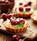 樱桃馅饼用香草乳蛋糕和焦糖,在一张木桌上的可口点心 免版税库存照片