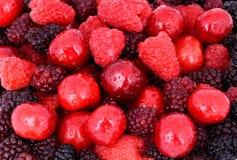 樱桃,莓,在整个背景的黑莓 免版税库存照片