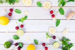 樱桃,薄菏,石灰,柠檬,姜切片的五颜六色的样式 石灰和柠檬切和整个与叶子 在白色木后面上 免版税库存图片