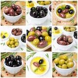 橄榄、香料和橄榄油,拼贴画 免版税图库摄影