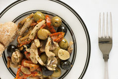 橄榄和蘑菇开胃小菜 库存照片