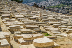 橄榄山的,耶路撒冷犹太公墓 免版税图库摄影