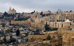 从橄榄山,耶路撒冷,以色列的老城市 图库摄影