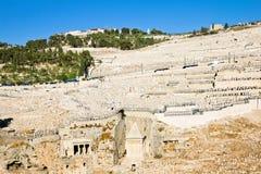 橄榄挂接的古老犹太墓地  图库摄影